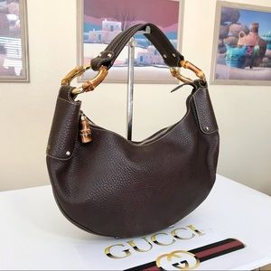 Gucci Brown Leather Bamboo Ring Hobo Shoulder Bag